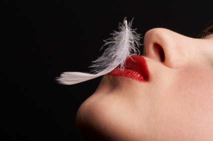 feather, white feather, lips kissing feather, delicate