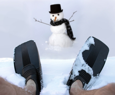cold feet, flippers, snow man, feet