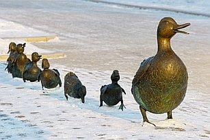ducks in a row, row of ducks, bronze ducks